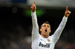 thebeautifulgameblog:  Cristiano Ronaldo celebrates during a La Liga match against Villareal.  Photo credit: Ryu Voelkel   SAUCEEE.