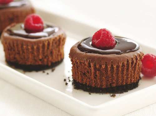 chocolate cake with a raspberry on top!