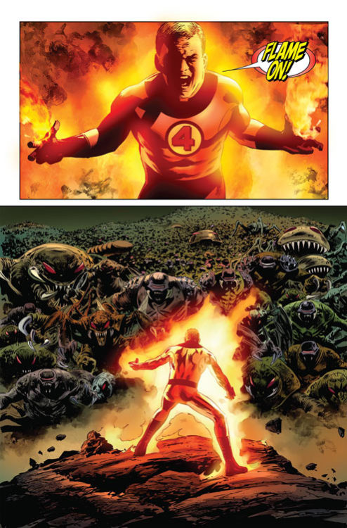 "herochan:  Human Torch's last stand in Fantastic Four #587 by Steve Epting Blog || Artwork via ""it's a Dan's World""  We'll miss you, Johnny… T^T"