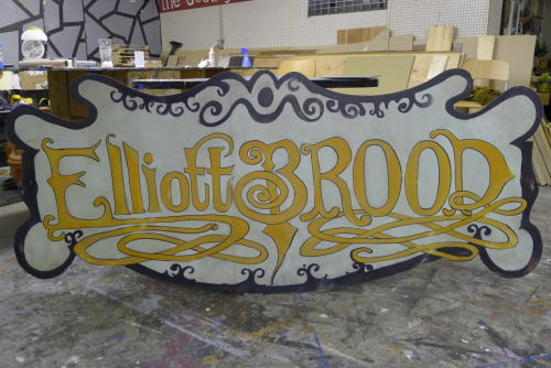 A 3' x 8' hand painted sign commissioned by Elliott BROOD for their New Years' Eve show at Lee's Palace in Toronto. This sign has been cut and hinged for easy transport on future tours.