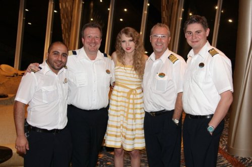 Taylor Swift with Allure of the Seas' officers