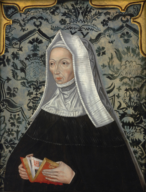 earwigbiscuits:  Margaret Beaufort, mother of Henry VII, and her fabulous wallpaper English School, later 16th century