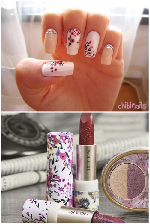 Nail design based on Paul & Joe lipstick ♥ I want their lipsticks so bad!