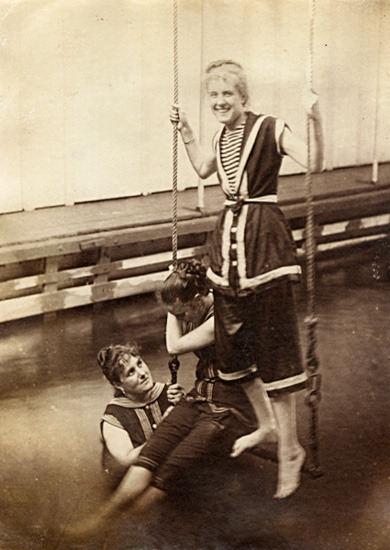 Anonymous - Women at a Swimming Pool on Swing over Water,c.1890