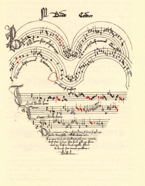 A chanson about love, Belle, Bonne, Sage, by Baude Cordier (French, 1380-c1440) is in a heart shape, with red notes indicating rhythmic alterations.
