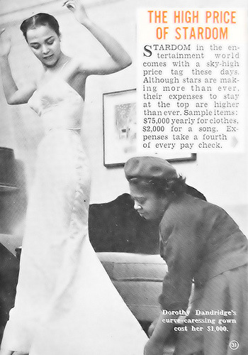 Dorothy Dandridge being fitted for a gown by designer, Zelda Wynn Valdes in a photo from a 1954 issue of Hue. Ms. Valdes designed for Josephine Baker, Sarah Vaughan, Maria Cole (Mrs. Nat and Natalie Cole's mother) and other celebs of the day before capping off her career by designing costumes for the Dance Theater of Harlem.  I encourage you to pick up Threads of Time, The Fabric of History: Profiles of African American Dressmakers and Designers, 1850 to the Present by Rosemary E. Reed Miller for more information.