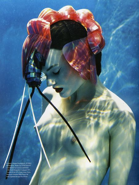- Lobster Headpiece by Junko ShimadaPhoto by Rene & Radkafor Wound Quarterly (2009?)via Strawberige