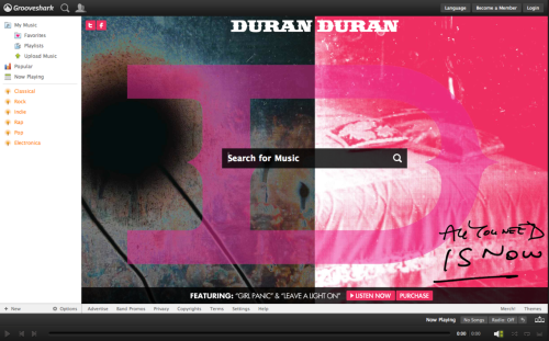 groovesharkartists:  Check out this sweet new Duran Duran site skin on Grooveshark. By far my favorite come-back band of the century. Or, did they ever leave? Either way, I don't care; I love it. Buy Album Stream Album Duran Duran Website