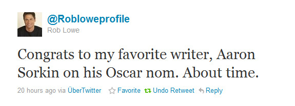 rebeccapearce:  I love how he still says Aaron Sorkin is his favourite writer even though The West Wing ended 5 years ago. Please let them work together again soon.