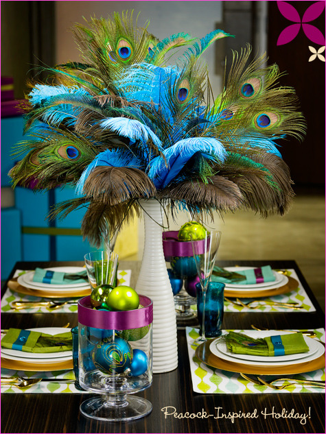 Peacock inspired centerpiece {via New England Fine Living}