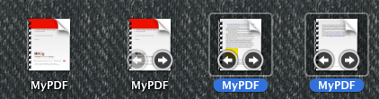 Mac OS X - Allows you to flip through the content of a PDF in its icon thumbnail. /via Jacob Wyke