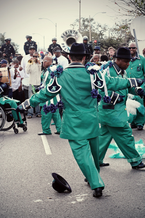 Lean into it. Treme Sidewalk Steppers Second Line with Rebirth Brass Band (feat. Trombone Shorty).  Where else, but New Orleans. January, 2009.