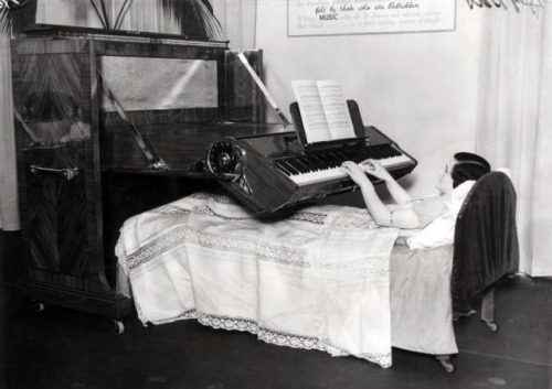 Piano For The Bedridden (UK, 1935). Piano especially designed for people who are confined to bed.