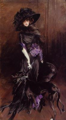 "defunctfashion:    Giovanni Boldini | Marchesa Luisa Casati with a greyhound | c. 1908 I completely forgot her in my ""Favorite 20th Century Icon"" post earlier. She is the namesake of the Marchesa fashion house (for those of you who didn't know)."