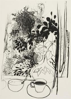 yama-bato:  BRETT WHITELEY (1939-1992) - View of the Garden, 1977 67.0 x 47.0 cm