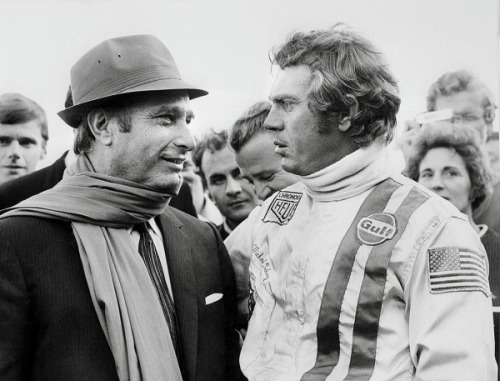 goodoldvalves:  Legends meets legend. Steve McQueen meets Juan Fangio, during the filming of the movie Le Mans in 1970.  Great movie. I watched it!