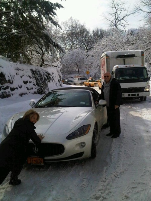 "capitalnewyork:  Katie Couric pushing Barry Diller's Maserati out of a snowbank in Central Park. ""Only in New York.""  You're right Katie, ""Only in New York are there people dumb enough to be able to afford a Maserati and not also own some sort of vehicle that is meant to drive in the snow"" Why are rich people so fucking dumb?"