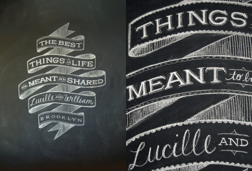 Chalk Typography Custom chalk typography by Brooklyn, New York graphic designer Dana Tanamachi.  During the day she helps create amazing work at Louise Fili Ltd specializing in packaging, branding and design for food and restaurants.