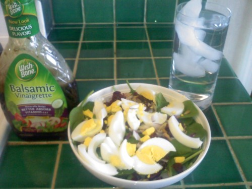 Lunch 1.27.11  Baby spinach salad with one hard boiled egg, two hard boiled egg whites, craisins, sunflower seeds, red onion, and balsamic vinaigrette. I also had a protein bar for desert, yum.