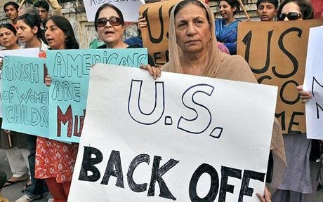 Pakistani civil right activists protest against the US missile strikes in the country's tribal areas in Lahore Photo: AFP/GETTY Courtesy: The Daily Telegraph Follow us on Facebook | Twitter or Submit something or Just Ask!