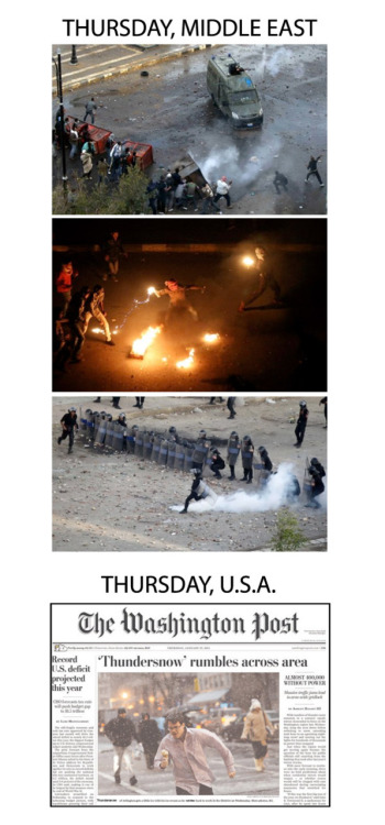 motherjones:  Thursday, Middle East/Thursday, USA. (with pics from breakingintoheaven)  More and more often the US media is just a complete fucking embarrassment.