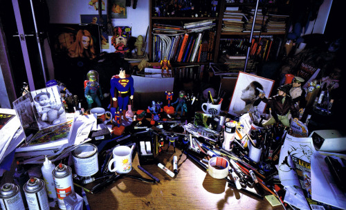 Artist/animator Bruce Timm's workspace circa 1997. Scanned from Batman: Animated | Harper Collins | 1998