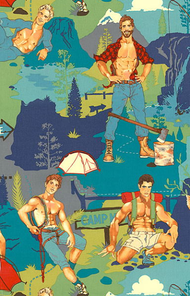 Does it get any greater than this? Hunk Camping fabric by Alexander Henry!