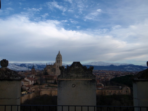 View of Segovia over the castle walls.