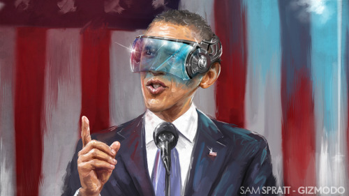 Barack Obama gets his Daft Punk on in my illustration for Gizmodo