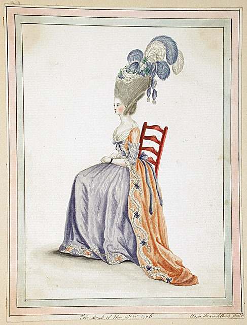 The Dress of the Year 1776, by Ann Frankland Lewis  Feathers!  FEATHERS!