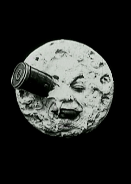 "A Trip to the Moon (1902, dir. Georges Méliès)  ""That same evening everything was ready; the crowd was beginning to arrive, the public was crowding in front of the big moon, but the poster, while it made people laugh, was greeted with all kinds of wisecracks. 'It's a joke, it's trickery! Do they think we're idiots around here? Do you imagine they could have gone to the moon to photograph it? They're pulling our legs!' The audiences of that day imagined that it was impossible to photograph anything but real objects."" -Méliès, on public reaction to his poster for A Trip to the Moon, which featured the scene from the film in which a rocket ship lands on the moon's eye (via)  Full film online here/here."