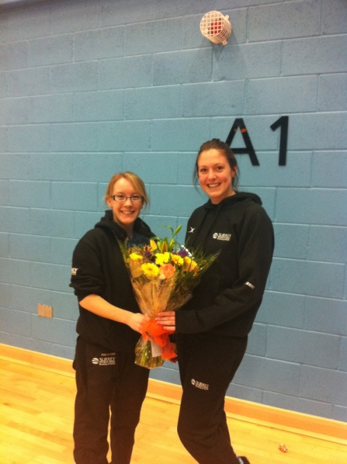 photo: Surrey Storm: Katy getting her MVP flowers from her very proud NTL coach from last year, Emma Blackmore http://twitpic.com/3t25f5