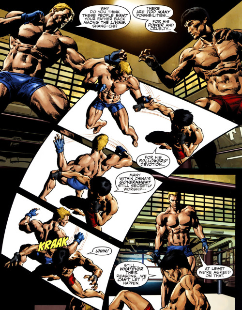 This is what I imagine prison gyms are like. Really gay. from Secret Avengers #9, written by Ed Brubaker and illustrated by Mike Deodato Jr
