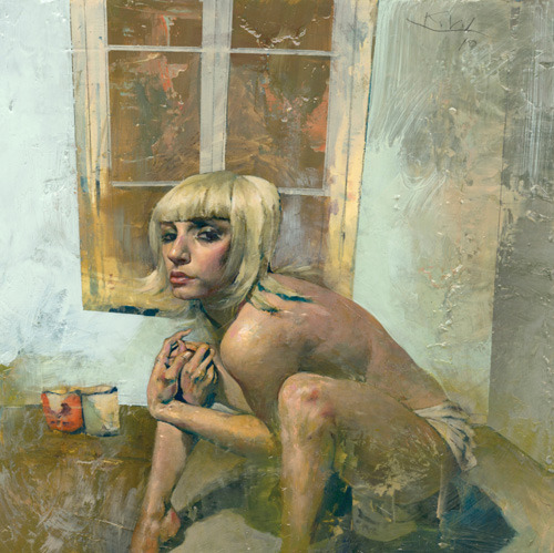 KENT WILLIAMS Kent Williams is a highly acclaimed figurative painter whose work has been exhibited at the Smithsonian National Portrait Gallery in Washington, DC.  His paintings also hang in the collections of notable entertainers and musicians like Robin Williams and Meg White. Kent's work weaves together intense narratives that examine human emotion and connection.  The stories he tells through his paintings are elaborate, yet they explore  issues we commonly struggle with in our daily lives. Kent has extended his artistic explorations into other mediums, including graphic novels.  He worked with Darren Aronofsky to create the graphic Novel, The Fountain (which you can read about here). Here are a few more examples of Kent's work.     To learn more about Kent, or to see more of his work, visit his website.  You can also follow Kent Williams on Facebook and Twitter. Some of Kent's original works are available through Merry Karnowsky Gallery.