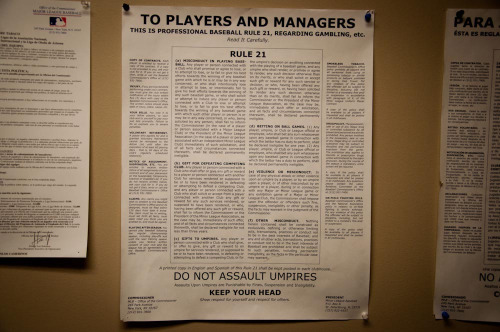 "oldtimefamilybaseball:  mightyflynn:  This is Professional Baseball Rule 21, Regarding Gambling, etc. Bright House Field, Spring Training home of the Philadelphia Phillies Clearwater, Florida  Personally, I like this helpful tip: ""DO NOT ASSAULT UMPIRES"""