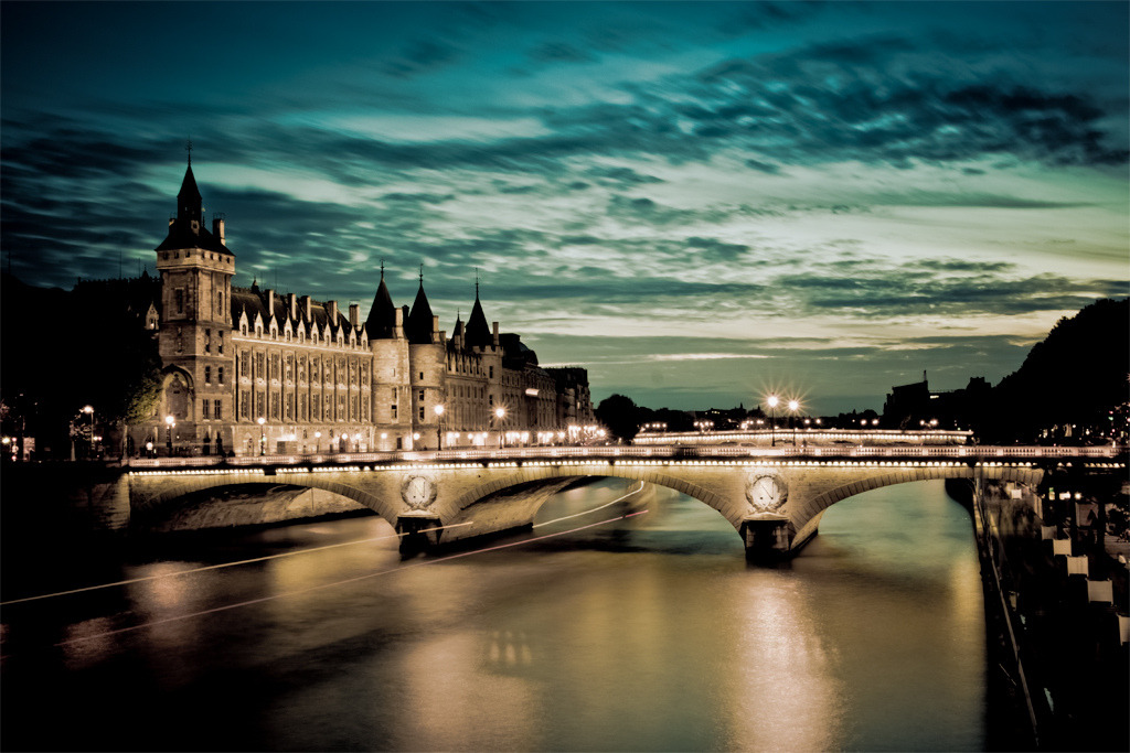 "jakejaylee123:  ""Parisian Walk"" The ""Pont au Change"" and ""Conciergerie"", viewed from the ""Pont Notre Dame"" at Paris, France. Photo taken by Marc Benslahdine."