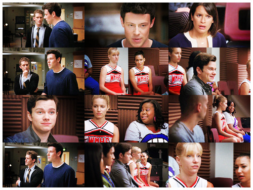Finn: Mr. Schue? I have something to say. Something happened to me and I can't really get into it but it's shaken me to my core.Puck: Oh my God, he's coming out.Finn: Well, yes, there is a man who's sort of recently come into my life and that man is Jesus Christ.Puck: That's way worse.Finn:  And I know there's others in here who dig him too. So I thought maybe  this week we could pay tribute to him in music. You know, pay tribute to  Jesus.Kurt: Sorry, but if I wanted to sing about  Jesus I'd go to church. And the reason I don't go to church is because  most churches don't think very much of gay people. Or women. Or science.Mercedes: I don't see anything wrong with getting a little church up in here.Quinn: I agree. I've had a really hard year and I turned to God a lot for help. I for one wouldn't mind saying thanks.Santana: Thanks for what? That it didn't come out a lizard baby?Brittany: Whenever I pray I fall asleep.