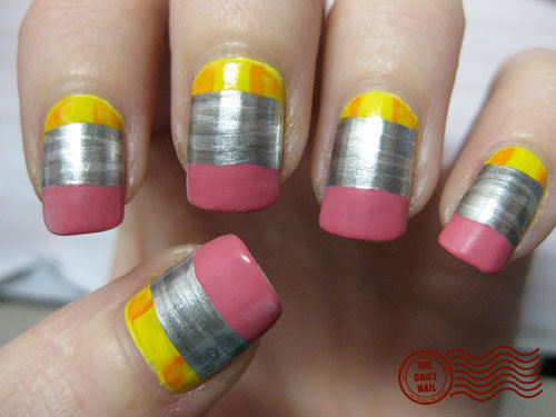 Pencil nails! The different finish in the silver is amusingly realistic.  Via.