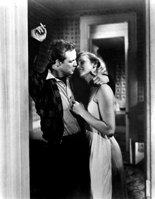 theniftyfifties:  Marlon Brando and Eva Marie Saint in 'On the Waterfront', 1954