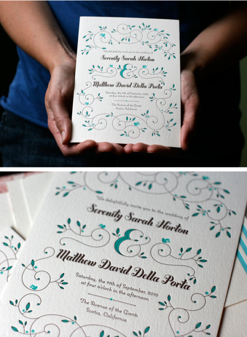 sweepmeup:  This letterpress wedding invitation is just gorgeous. Love the typography and floral illustration.