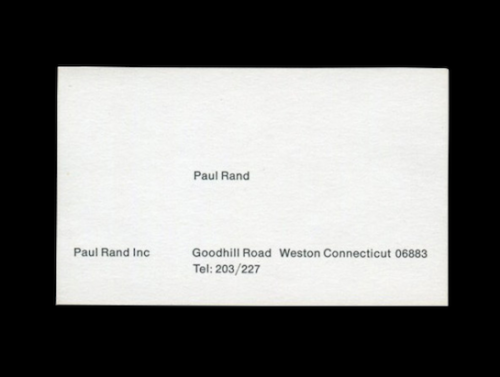 donnawearmouth:  Paul Rand's Business Card