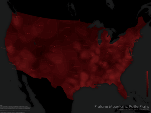 via Cartastrophe, No Swearing in Utah. A US map of Twitter swearing habits. Unfortunately dark color choice, by the way, but neat idea. From the downloadable PDF at the link:  Based upon an interpolated surface generated from approximately 1.5 million geocoded public posts on Twitter between March 9th and April 12th, 2010. These data represent only a sample of all posts made during that period. Isolines are based upon the average number of profanities found in the 500 nearest data points, in order to compensate for low population areas.