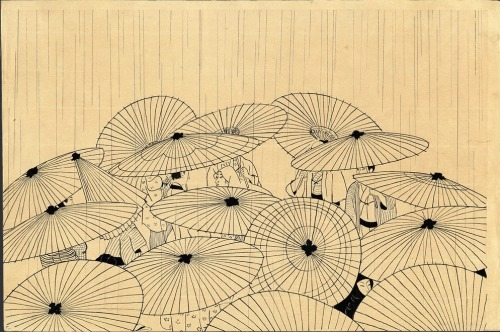 theshipthatflew:  Settai Komura (1887-1940), Osen in the Rain, printed 1941