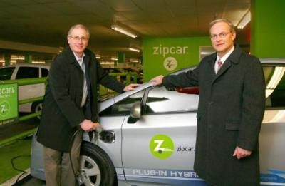 "smarterplanet:  Zipcar Adds Plug-In Prius Hybrids to Its Fleet Source: Fast Company   The next generation of electric cars is now available to the car-less—at least, to Zipcar members in Boston, San Francisco, and Portland. The car-sharing service announced this week that eight Toyota Prius plug-in hybrids are now available to those three cities as part of a pilot program that will explore how the technology can work in large-scale car-sharing programs. ""Zipcar is an ideal test bed for early consumer acceptance of EVs,"" said Scott Griffith, Chairman and CEO of Zipcar, in a statement. ""This project will allow companies to receive direct feedback from thousands of consumers in three cities and help evaluate how EVs fit into a large-scale car sharing model."" Toyota's plug-in Prius, set to be released to showrooms in 2012, can travel on pure electric power up to 62 MPH for approximately 13 miles before shifting into conventional Prius hybrid mode, where it averages 50 MPG. Zipcar is planning on charging its fleet using both conventional 110-volt outlets (a three-hour charge time) and 220-volt chargers (a 90-minute charge time). Customers will be allowed to take the plug-ins out for $7 per hour."
