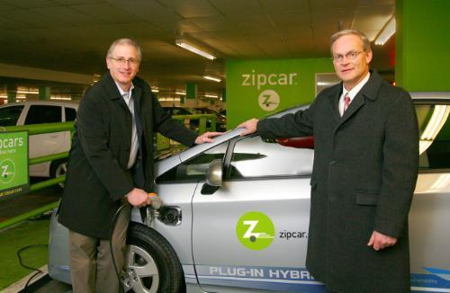 "Zipcar Adds Plug-In Prius Hybrids to Its Fleet  Source: Fast Company     The next generation of electric cars is now available to the car-less—at least, to Zipcar members in Boston, San Francisco, and Portland.  The car-sharing service announced this week that eight Toyota Prius plug-in hybrids are now available to those three cities as part of a pilot program that will explore how the technology can work in large-scale car-sharing programs.  ""Zipcar is an ideal test bed for early consumer acceptance of EVs,"" said Scott Griffith, Chairman and CEO of Zipcar, in a statement. ""This project will allow companies to receive direct feedback from thousands of consumers in three cities and help evaluate how EVs fit into a large-scale car sharing model.""  Toyota's plug-in Prius, set to be released to showrooms in 2012, can travel on pure electric power up to 62 MPH for approximately 13 miles before shifting into conventional Prius hybrid mode, where it averages 50 MPG. Zipcar is planning on charging its fleet using both conventional 110-volt outlets (a three-hour charge time) and 220-volt chargers (a 90-minute charge time). Customers will be allowed to take the plug-ins out for $7 per hour.  (via smarterplanet)"