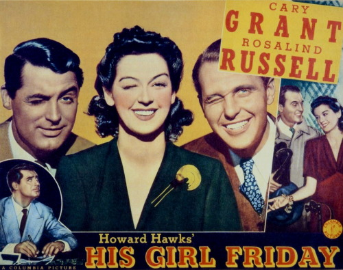 His Girl Friday (1940) DIR: Howard Hawks A great, fast-paced screwball comedy starring Cary Grant and Rosalind Russell. Hildy Johnson (Russell), having divorced Walter Burns (Grant), goes to visit his office to tell him that she is engaged to another man and will be marrying him the next day. Walter Burns can't let that happen so he frames her fiance, at the same time trying to get his ex-wife to come back and return to her old job as the editor for his newspaper. Although it's arguably one of the best screwball comedies ever made, it never actually received any Academy Award nominations. Watch on YouTube Links: IMDb | Wikipedia Image Source: Dr. Macro's