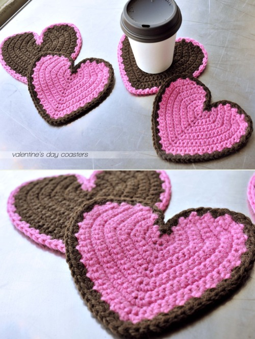 {made} — valentine's day coasters Decided to make something for my parents this year for Valentine's Day instead of just sending them the standard candy gift. As soon as I saw this pattern I knew I had to make these adorable heart coasters. My friend over at pepperknit wrote the pattern and I even used the yarn she had surprised me with a few months ago in the mail to make them. The colors worked out perfect! They were really fun to crochet and gave instant gratification, which I love.  I used a G hook with the pink yarn and the a F hook with the brown yarn since it was a little thicker — they came out to be the same size which was a wonderful surprise to get right on the first try :) I know I'll be making more of these fun hearts, might do a mix-match colored garland to hang up in our house.  This pattern, Be Mine Coasters, can be found in the January/February 2010 issue of Crochet Today!