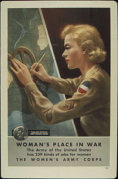 """Woman's place in War"", WWII propaganda poster. via { ww2ky }."