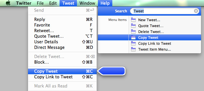 Mac OS X - When searching in the help menu of an app, the menu relevant to the result is pulled down with a blue moving arrow pointing at the menu item.  /via Stephen Litt Belch