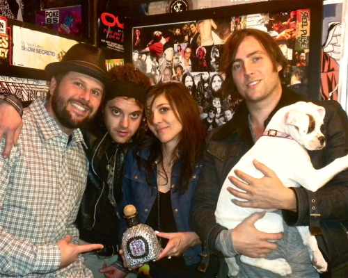 The #1 Roxy band of 2010, Nico Vega, with custom their Roxy trophy, Nic Adler & May-Z the pup!